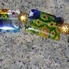 A4-Rainbow Glass and Gold Beaded Bracelet