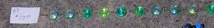 A7-Green Swirl Glass Beaded Iridescent Bracelet