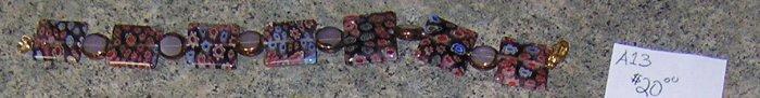 A13 - Bracelet - Millefiori Glass Rainbow Beads