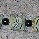 A19 - Bracelet -Green swirl porcelain bracelet