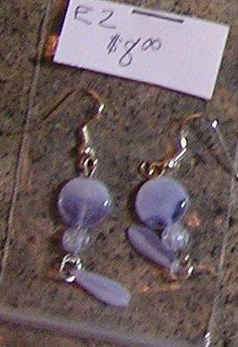 E2 - Lavender Swirl Glass Teardrop Beaded Earrings