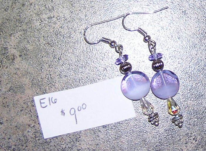 E16 - Earrings Lavender Swirl and Silver Dangles