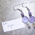 E16 - Earrings Lavender Swirl and Silver Dangles