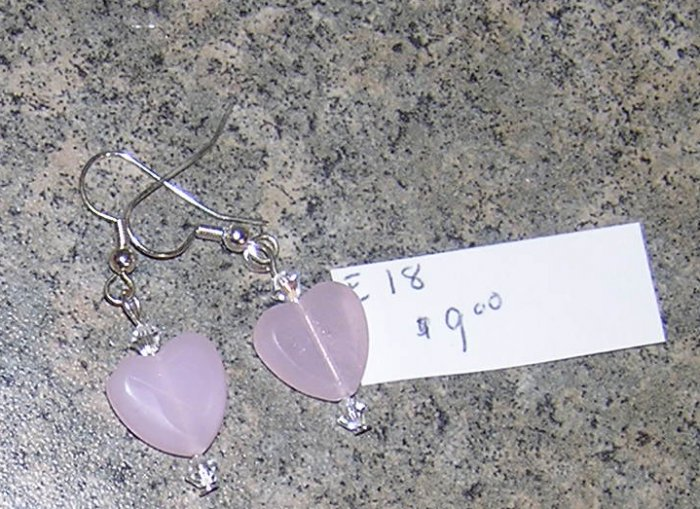 E18 - Earrings Rose Quartz Hearts With Crystal Accents