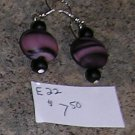 E22 - Earrings - Disk Shaped Purple frosted glass swirl beaded drops