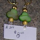E24 - Earrings - Lucky Charm Clover Earrings w Gold Beads