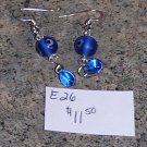 E-26 - Earrings - Blue Glass Drops