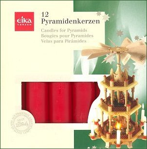 RED CHRISTMAS CANDLES FOR GERMAN PYRAMID, nativity pyramid candles