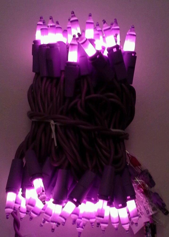 RARE 70 LAVENDER mini STRING lights ON PURPLE CORD! EASTER MARDI GRAS VALENTINE