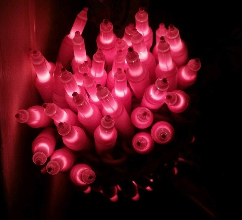 RARE 70 PINK mini STRING lights ON PINK WIRE! EASTER VALENTINES DAY CHRISTMAS