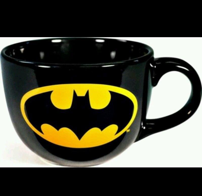DC Comics Black Batman Logo 24 oz Ceramic Coffee or Soup Mug