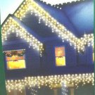 100 ICICLE LIGHTS Clear Bulbs White Wire CHRISTMAS DECORATION INDOOR OUTDOOR