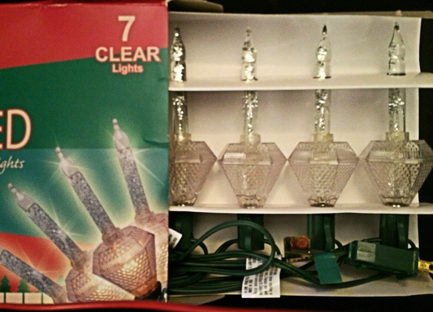 BRITE STAR CHRISTMAS CLEAR BUBBLE LIGHTS SILVER Glitter DIAMOND FACET 7 bulb NEW