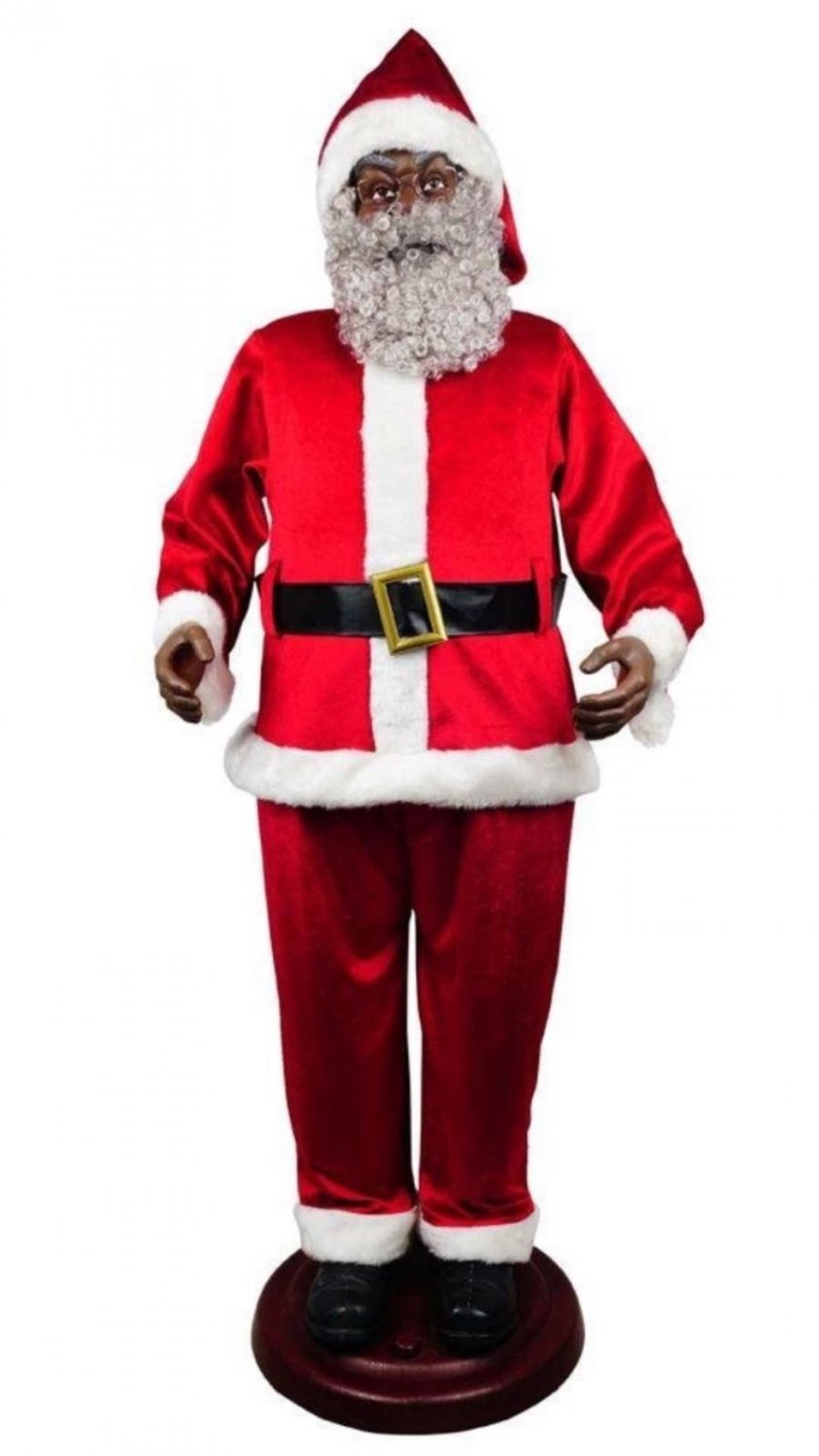 LIFE SIZE African American ANIMATED BLACK SANTA CLAUS SIX FEET TALL! Christmas prop (72 inches)