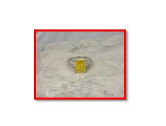citrine zircon & bezel zircon, 925 silver ring, size 8 (sr-6)