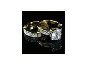 SIMULATED DIAMOND BRIDAL SET YGP RING, size 7 (fr-25)