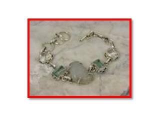"""Peridot quartz & white topaz, .925 SILVER BRACELET 7.5-8"""""""