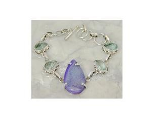 "Purple druzy & aquamarine .925 silver bracelet, 8"""
