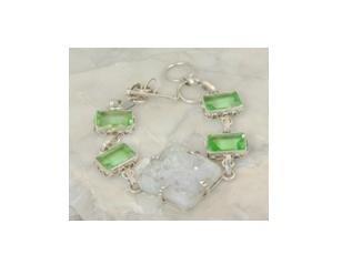 "Snow druzy & peridot .925 silver bracelet, 7.5-8"""