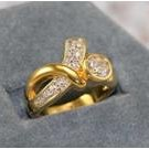 14KT HGE 4ct TW awareness diamond simulated ring, size 7 (fr-21)