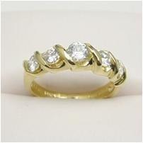 5 stone cz diamond simulated anniversary ring, size 7 (fr-18)