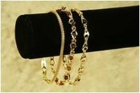 Great 3 pieve 14K GP genuine garnet bead bracelet set