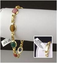 Classic 14KT GP carved genuine scarab link bracelet