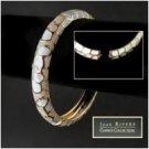 Joan Rivers peach enamel spring-lock bangle bracelet