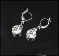 Silver euro clip crystal earrings