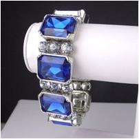 "Stunning sapphire simulated CZ 8"" stretch plus bracelet"