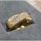 14K GP 1CT TW Smooth Ribbon Diamond Simulated Ring, size 7 (fr-8)