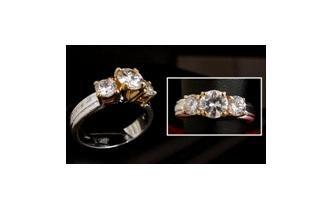 3 Stone diamond simulated anniversary band ring, size 7 (fr-7)
