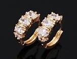 18K GP Huggie Brilliant CZ Simulated Diamonds Earrings