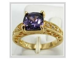 """Alexandrite 10k yellow gold ring with """"I Love You"""", size 8 (gr-4)"""
