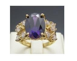 Huge 3.55ct Amethyst & diamond 10k solid yellow gold ring, size 8 (gr-3)