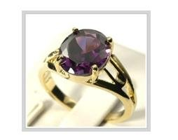 Noblest alexandrite 10K solid yellow gold ring, size 8 (gr-2)