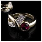 14KT HGE 4CT Reflection Ruby Diamond Simulated Ring, Size 6 (fr-1)