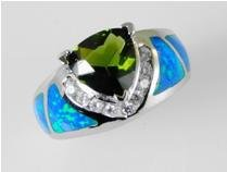 Lab opal inlay peridot .925 silver ring, size 7 (sr-1)
