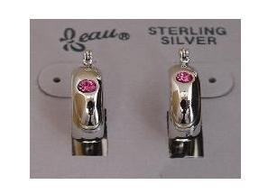 Pink Austrian Crystal Sterling Silver Beau Earrings (ser-1)