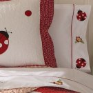 2PC Red Lady Bug Yard Twin Bedding Sheet Set SS3614TW