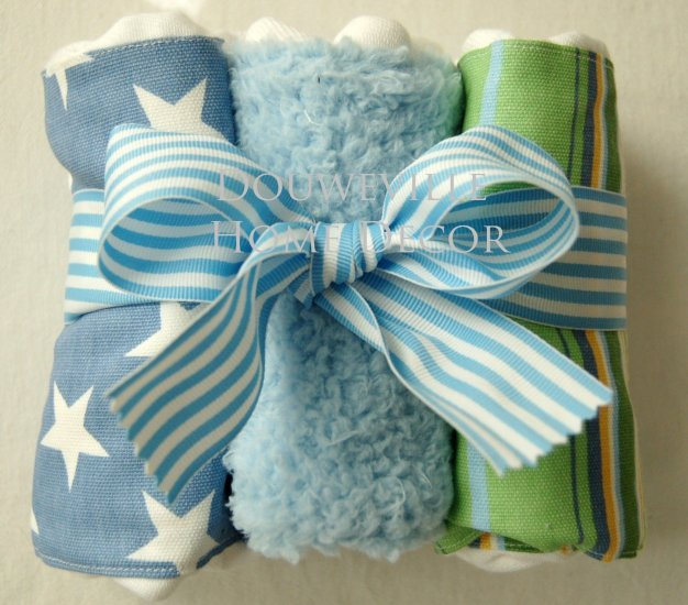 3PC STARS & STRIPES BURPEE Burp Cloth Set by New Arrivals BC-131