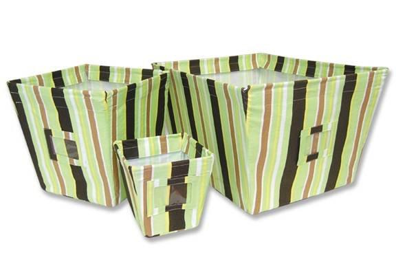 3pc Retro Giggles Stripe Fabric Storage Bins 109006