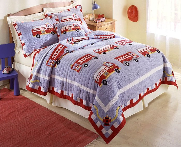 4PC Red Fire Engine Truck QUEEN Quilt Bedding QS0439FQ