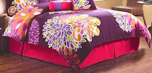 7PC RETRO Flower Power Hot Pink FULL Comforter Set CS7463FU7