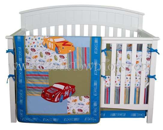 4PC NASCAR Racing Cars BLUE Crib Baby Bedding 40037