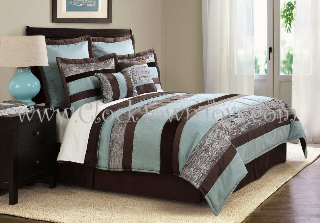 8pc Soho Cool Aqua Blue Brown Queen Comforter Set Cs7927ab8