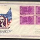 FIDELITY - 1939 Washington Inaugural (#854) FDC - Block of 4