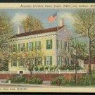 1931 Springfield, Illinois - ABRAHAM LINCOLN's Home - Linen Postcard