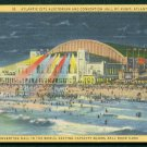 1933 Atlantic City, New Jersey - Auditorium and Convention Hall by Night - LINEN Postcard