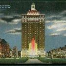 1940s Atlantic City, New Jersey - Hotel Claridge at Night - LINEN Postcard